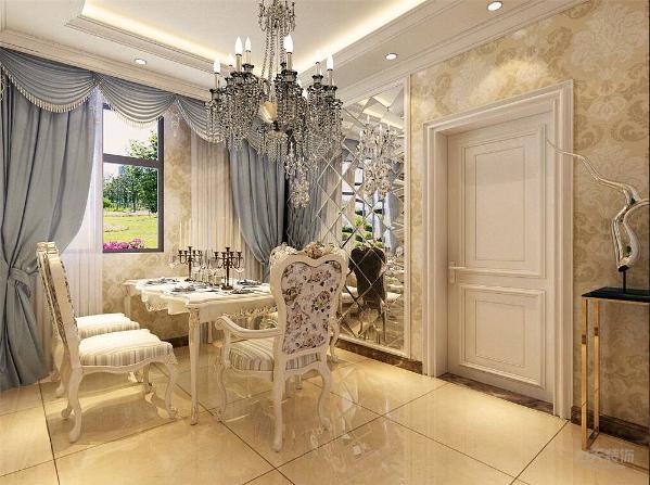 餐厅设有一个窗户有良好的视野和采光,餐厅与客厅之间有一个酒柜就餐使用更加便利。