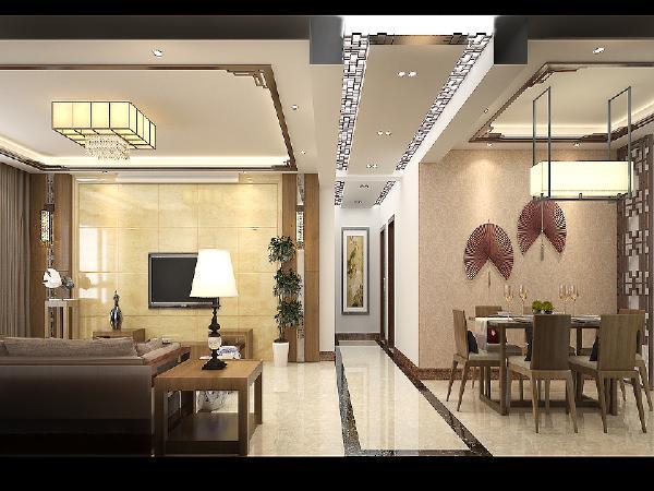 客餐厅吊顶相呼应,方形餐桌和吊顶配合,统一空间风格。长长的走廊通向卧室。