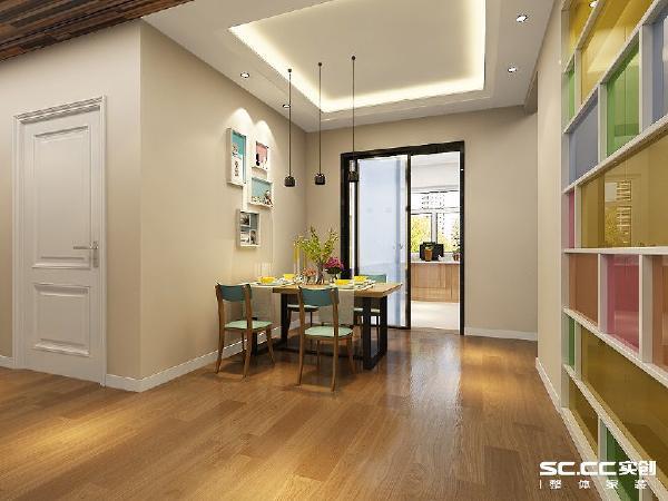 餐厅是让人就餐的地方不应该太过于亮丽,所以墙面为淡色让整个空间变得柔和,餐桌椅和玄关柜的搭配让餐厅和客厅之间不会太过于跳跃让人感觉两个空间格格不入。