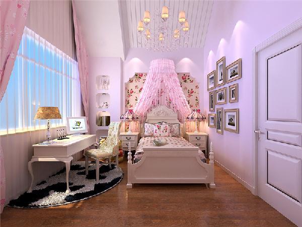 女儿房主要以偏现代为主,粉色系列来衬托调皮可爱。