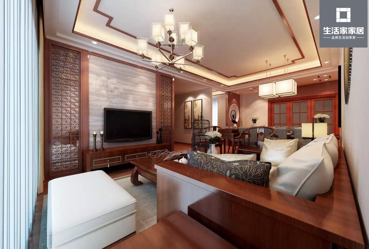 中式 典雅 收纳 客厅图片来自武汉生活家在卧龙丽景湾三室两厅110平中式的分享