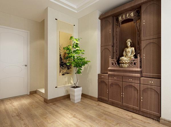 二楼楼梯的右侧,放置了一个佛龛,因为业主需要,墙面简单挂画。在主卧的设计中没有采用复杂的装饰,只是简单的挂画,端庄,大气。