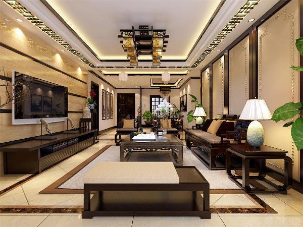 本方案主要采用了现代中式风格,客厅地面为800*800的米黄色大理石斜铺