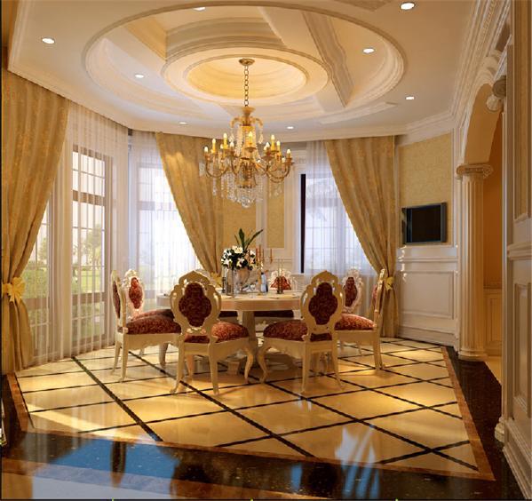 暖色的背景墙,加上暖的窗帘设计,我们看到橡木制成的餐桌更是显得高端、大气。