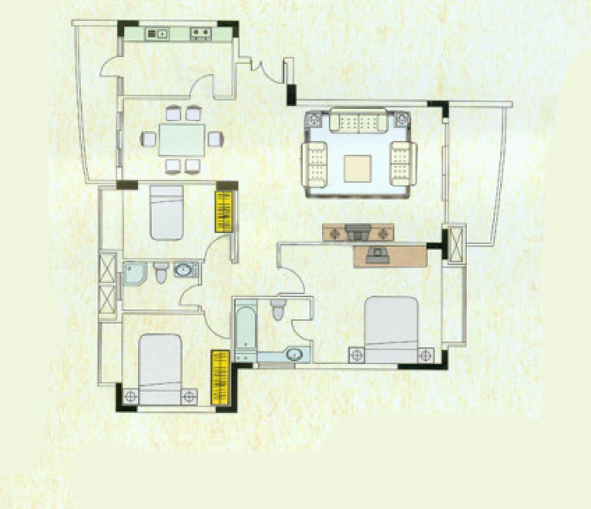旧房改造 简约 三居 居众装饰 户型图图片来自用户1252123063在简单沉稳的居家感的分享