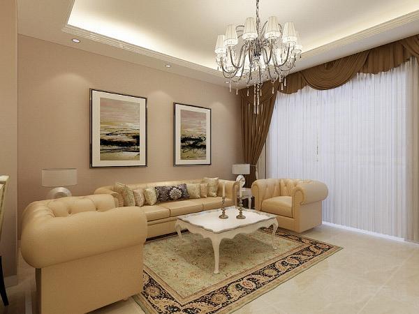 总体的色调定位比较暖。客厅区的电视背景墙同样为浪漫的欧式造型。