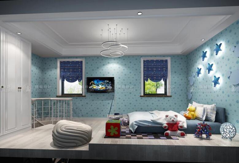 绿地宝里 别墅装修 中式风格 腾龙设计 宝山别墅 儿童房图片来自室内设计师孔继民在绿地宝里327平别墅新中式风格的分享