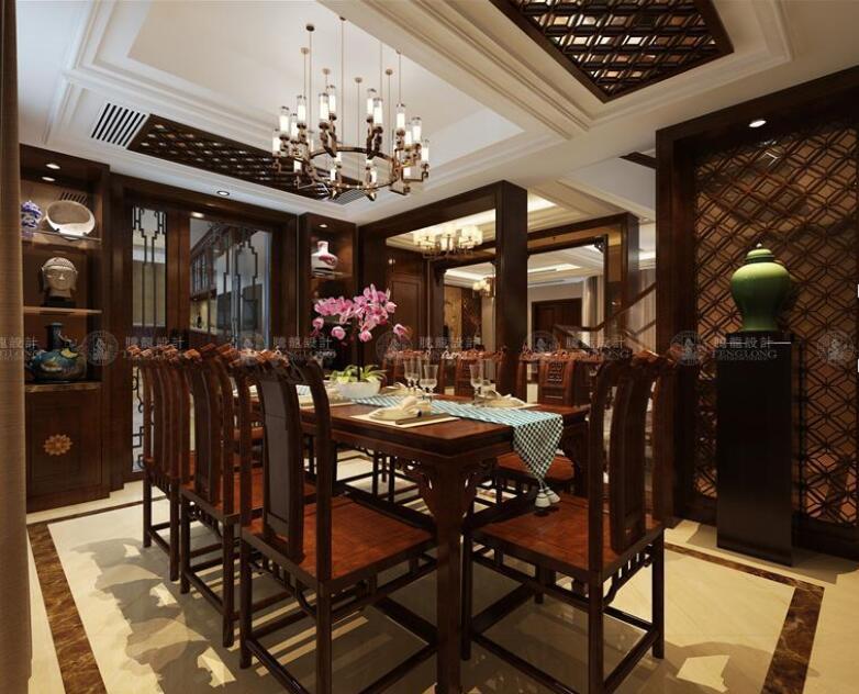 绿地宝里 别墅装修 中式风格 腾龙设计 宝山别墅 餐厅图片来自室内设计师孔继民在绿地宝里327平别墅新中式风格的分享