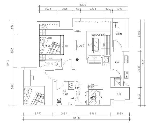 这是一个两室一厅一厨两卫的户型。