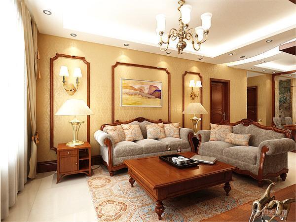 室内色彩为古典的木色,造型与家具都体现出厚重感,客厅与餐厅都采用了镜面作为装饰元素来平很厚重色彩给空间带来的压缩感。