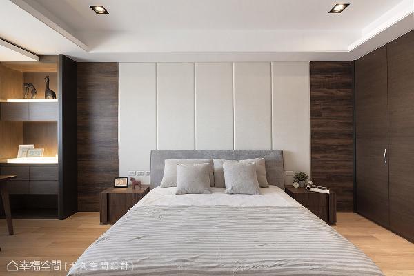 床头绷布与寝饰另挑选浅白、浅灰色系跳出视觉亮点,更是空间主体的主权宣示。