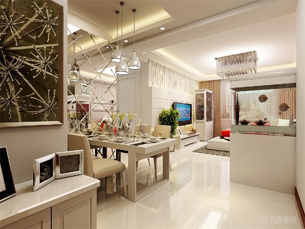 客厅在设计上,红色的拐角沙发让客厅变得更加的喜庆,简洁的沙发背景墙贴与竖条纹的壁纸,俩幅画挂在中间