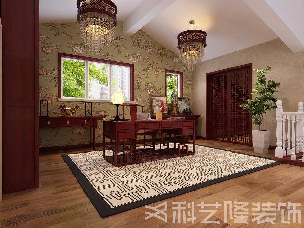 楼上设计为中式,主要体现在传统的家具,再辅以字画 陶瓷 古玩等装饰品,来体现中式文化深沉 厚重的底蕴。