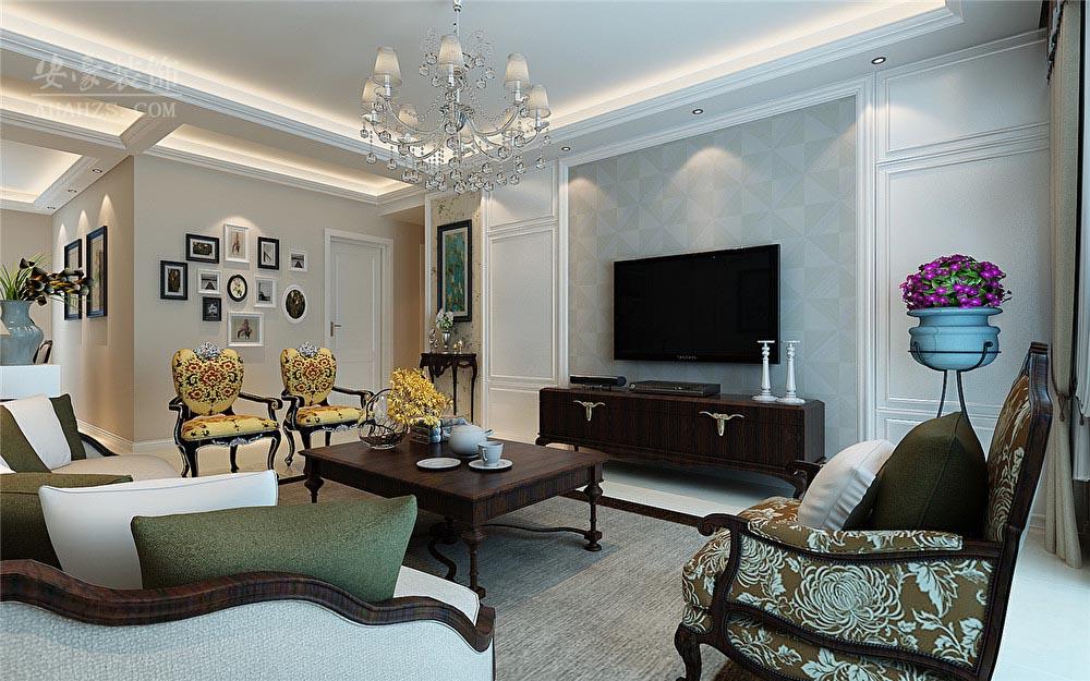 美式 客厅图片来自安豪装饰在蓝鼎新河府的分享