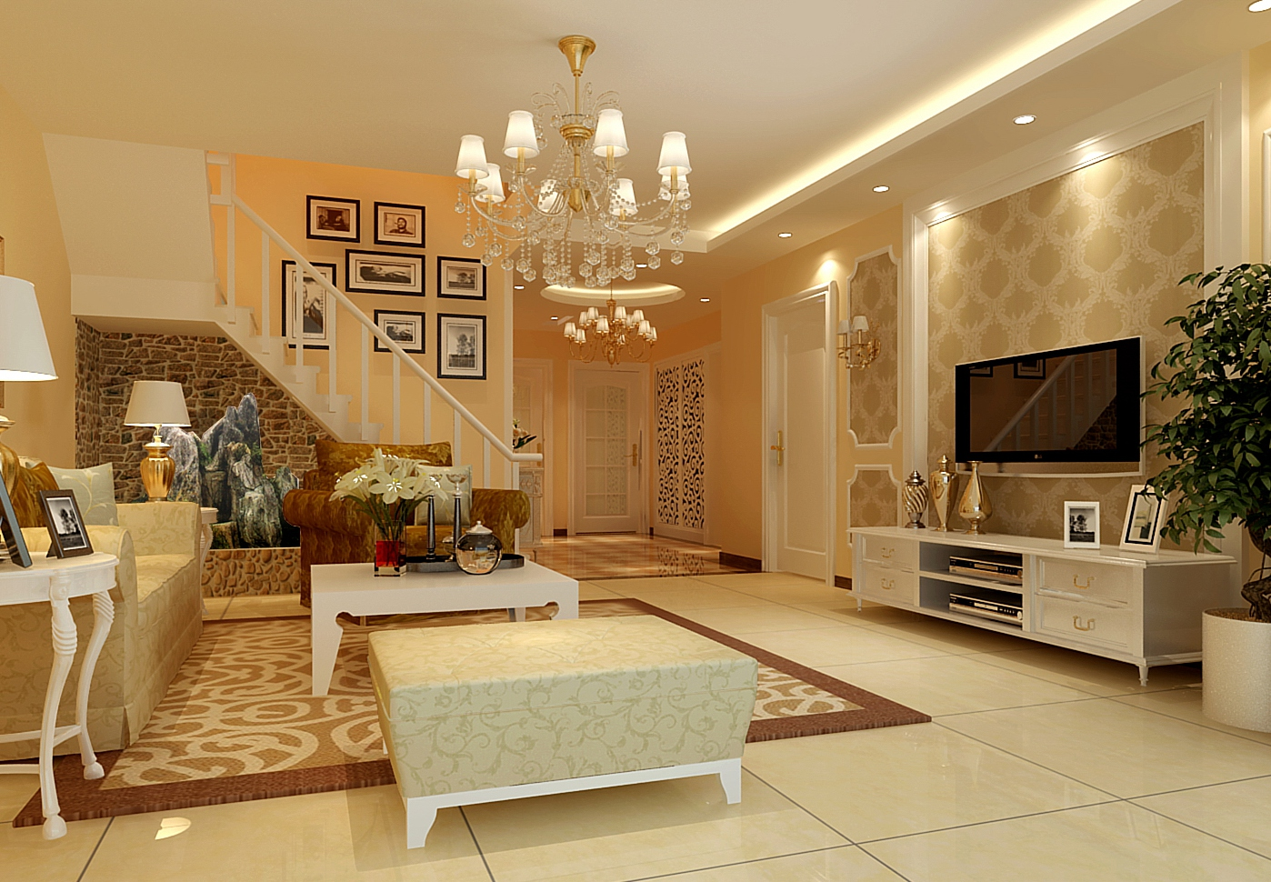 简欧 二居 欧式 简约 客厅图片来自居然元洲装饰小杨在两室三厅复式简欧风格的分享