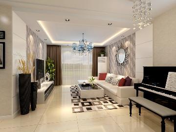 时尚三居室装修案例-龙湾写意