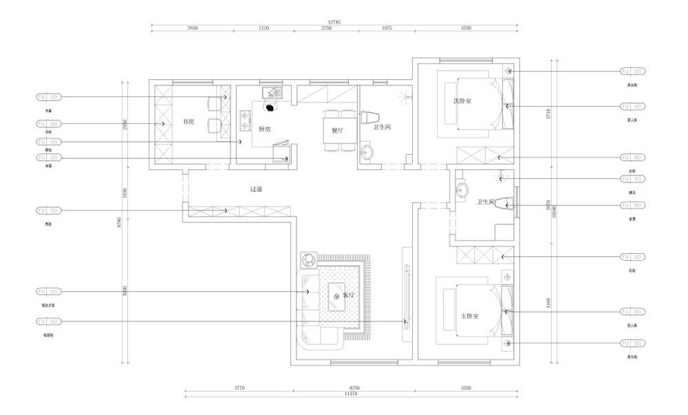 新中式风格 梵客家装 装修风格 天津装修 新房装修 户型图图片来自天津梵客家装实景体验馆在招商依云郡-125平新中式风格设计的分享