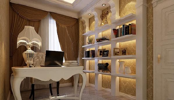 书房的色彩整体以浅色为主,壁纸,窗帘,家具的色系完美结合,让整个空间明快,柔和,愉悦。