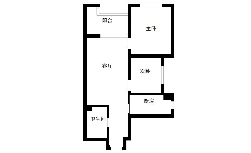 梵客家装 装修设计 两居设计 天津装修 新房装修 户型图图片来自天津梵客家装实景体验馆在88平两居室|和苑小区简约设计的分享