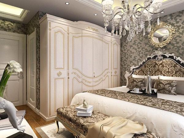 主卧通贴深色壁纸,欧式的床配以欧式的衣柜将欧式的风格凸显的淋漓尽致。地面铺贴木地板,脚感好又实用。