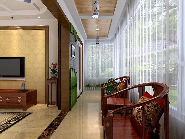 客厅阳台:阳台的设计加入了绿竹材质的造型墙,配合顶面桑拿板吊顶,让人感觉置身于大自然当中。