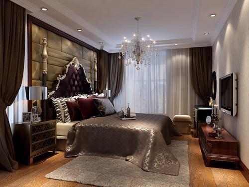 主卧室:弊端窗户多。利用窗帘造型来把空间做规整,很好的与软包床头结合,大气、奢华、温馨。