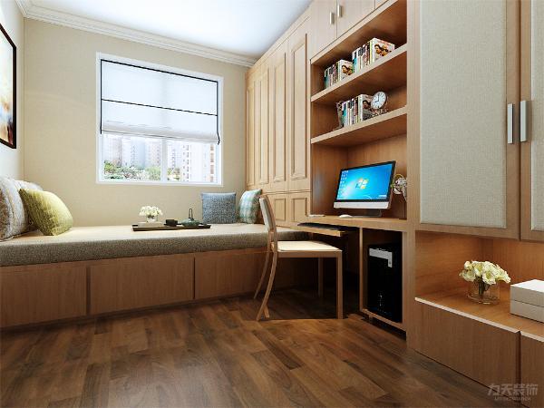 次卧这间将柜子整体统一的靠近一面墙,这样不占用过多的空间,室内宽敞明亮。地板颜色用的比柜体颜色深一些,增加室内空间的层次感。
