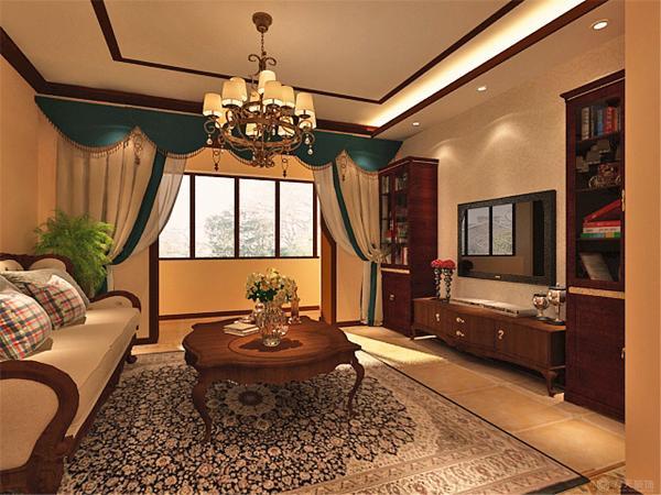 该户型中环公寓两室一厅一厨一卫102㎡,方正明亮适于设计。我的设计风格是美式。