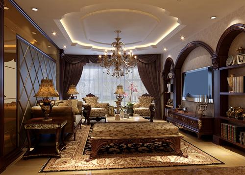 欧式 古典 三居 大平层 客厅图片来自居然元洲装饰小杨在韵味180平欧式古典的分享