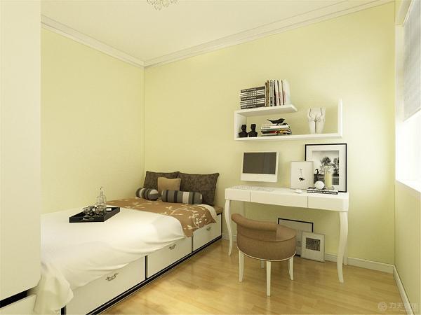 次卧室墙是米黄色乳胶漆,顶也是石膏线圈边吊顶。由于线条简单、装饰元素少,现代风格家具需要完美的软装配合,才能显示出美感。