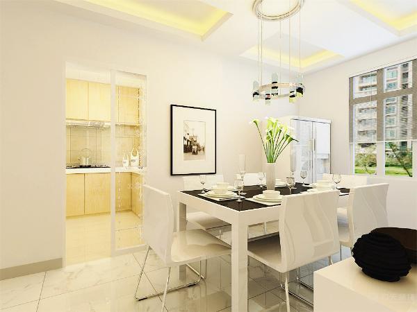 厨房的设计在吊顶则采用同样的回型吊顶加灯带的设计,这样既突出美感,又有利于光线的照入,白色的餐桌相对于整体来讲就更显得干净。