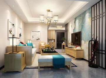 悦庭二室二厅新中式风格效果图