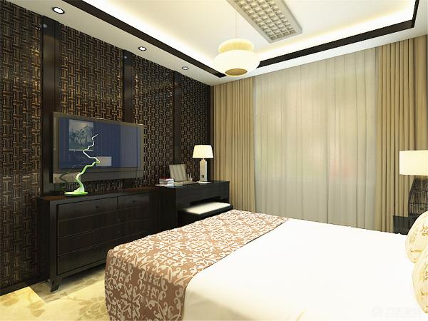 显得古朴稳重。卧室地面选用了地毯,既高雅又显得大气。床头也选用了如意纹的木质框架作为装饰。使卧室中中式元素能更好的体现出来。