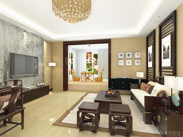 室内多采用对称式的布局方式,格调高雅,造型简朴优美,色彩浓重而成熟。电视背景墙采用了石材通铺的装饰,墙面加上布艺的装饰