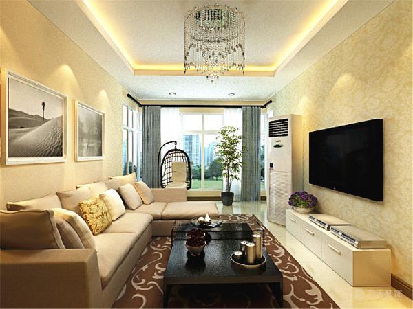 沙发用L形的,中间用深色的茶几压一下,沙发背景装饰画,内置立式空调,厨房卫生间整体白色,整洁大方。全面考虑,