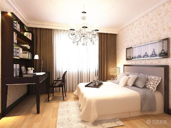 卧室偏稳重,采用深色的胡桃木家具,床品用比较舒服的颜色,应客户要求主卧加书桌,衣柜。