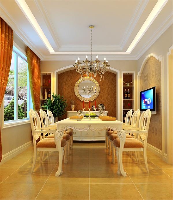 整体色调为米黄,重色彩出现在家具与配饰及木制造型上,使空间大方协调。