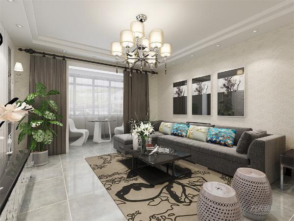 客厅的沙发背景墙与其他的墙面采用的是浅色壁纸,电视背景墙使用的是石膏板,同时增加两个壁灯,与红米白色沙发上面的红色抱枕,还有两个小圆凳。