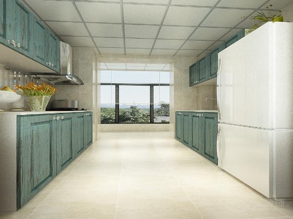 厨房柜门选择了蓝绿色的墙面和地面都是浅米黄色的小砖。玄关位置做了个鞋柜选的是深木色的材质。