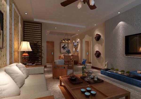 客厅总体色调雅致简洁,与家具搭配相得益彰。