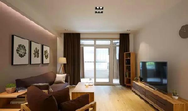 ▲ 咖色的沙发、墙面、窗帘、电视柜相互呼应