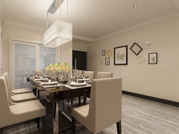 在餐厅的右手边是厨房,离餐厅近, 客厅与餐厅又是挨着的,中间用着一个屏风,既给业主一个私密的空间,又增加了区域分配的明显。