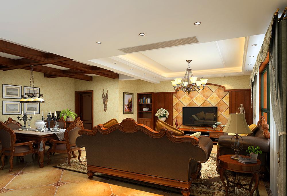 美式 温馨 时尚 80后 客厅图片来自武汉一号家居网装修在长江紫都美式风格实景图案例的分享