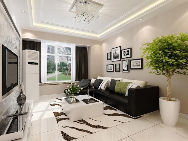 咖灰色乳胶漆奠定了整个空间的基调,电视背景墙做了简单的造型,里圈贴银色反光壁纸,中间镶嵌灰镜,使整个空间有放大的效果。