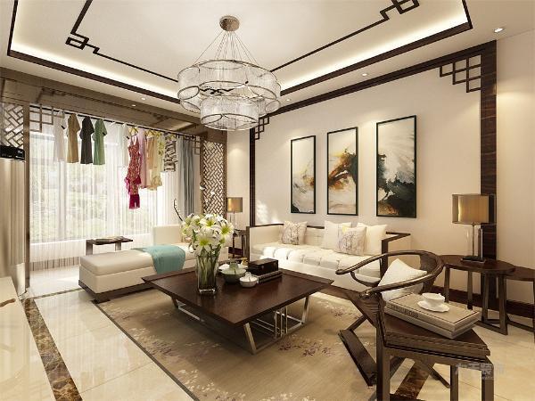 在设计中的客厅处的沙发背景墙大面积运用了水墨画作为壁纸,也在墙上挂有青花瓷作为装饰。在卧室中也用了两幅画作为点缀。众多的木色运用,备具文人气质。