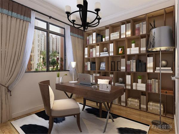 书房整体规整一面墙的书柜展示架沉稳大气。