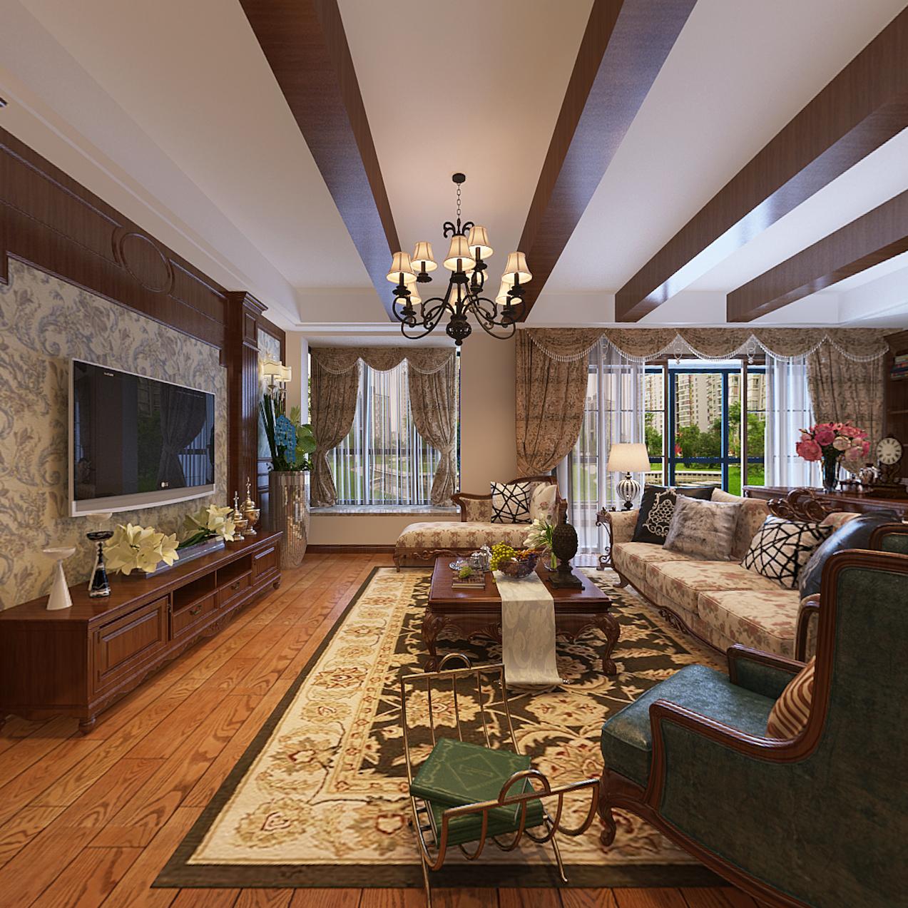 美式 温馨 时尚 三居 80后 小资 客厅图片来自武汉一号家居网装修在都是经典美式风格实景图案例的分享