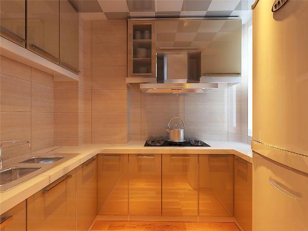 厨房主要以浅咖色的烤漆橱柜搭配米色的瓷砖,正式女主人喜欢的颜色,实用的空间大大满足女主人的烹饪需求。