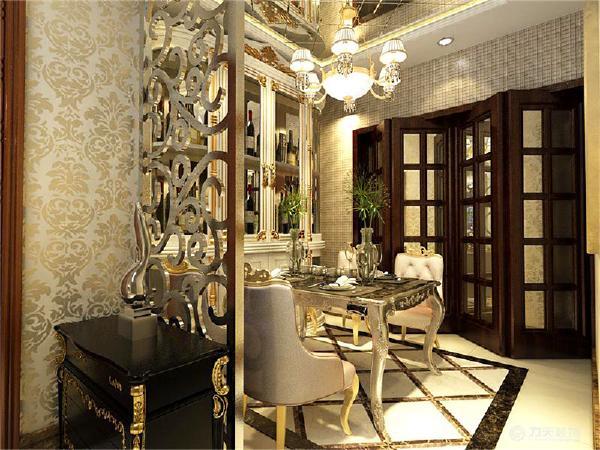 入户门位置摆放一个鞋边柜,由于紧邻餐厅位置,所以做一个镂空的隔断处理,边柜的周边采用镶金边处理。