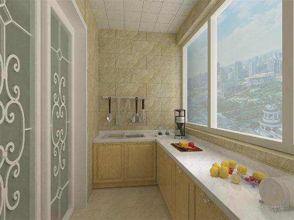厨房面积较小,因此在餐厅处设计一组吊柜,用于存放厨房用品,即合理利用空间,也增加气氛。